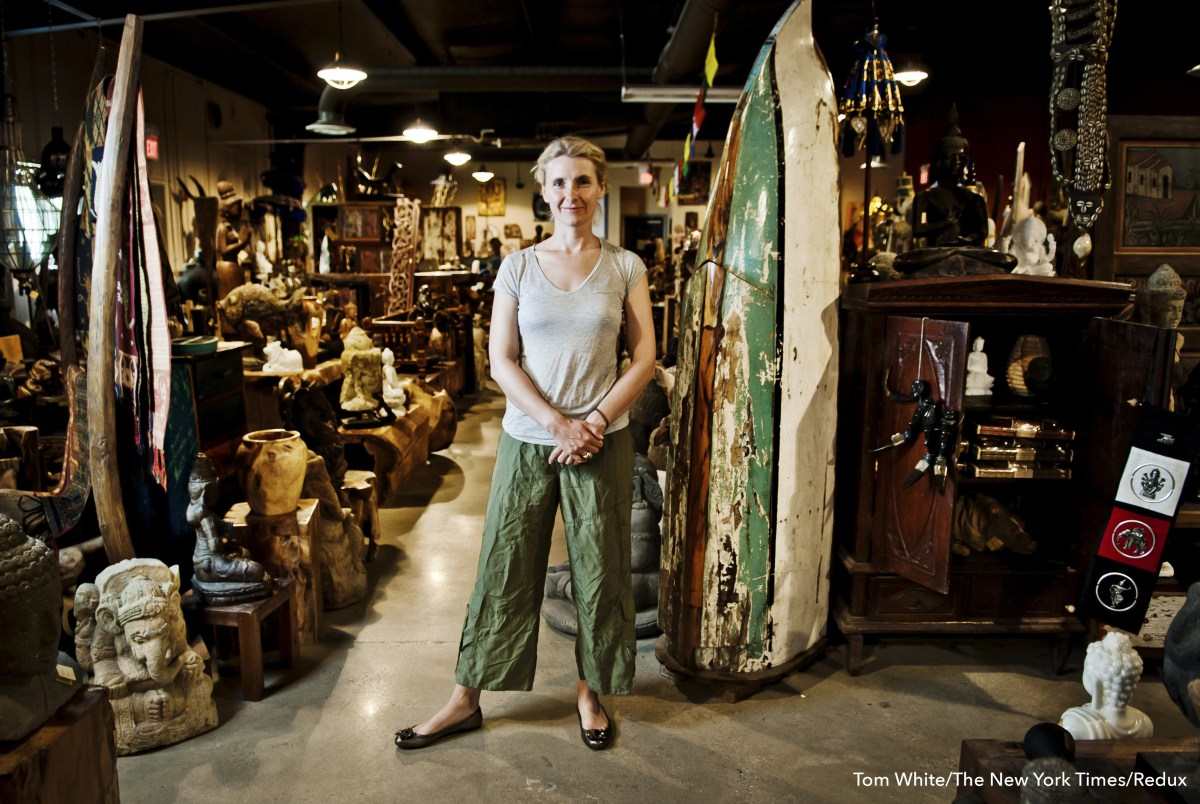 "Elizabeth Gilbert, author of ""Eat, Pray, Love,"" at her store, Two Buttons, in Frenchtown, N.J."