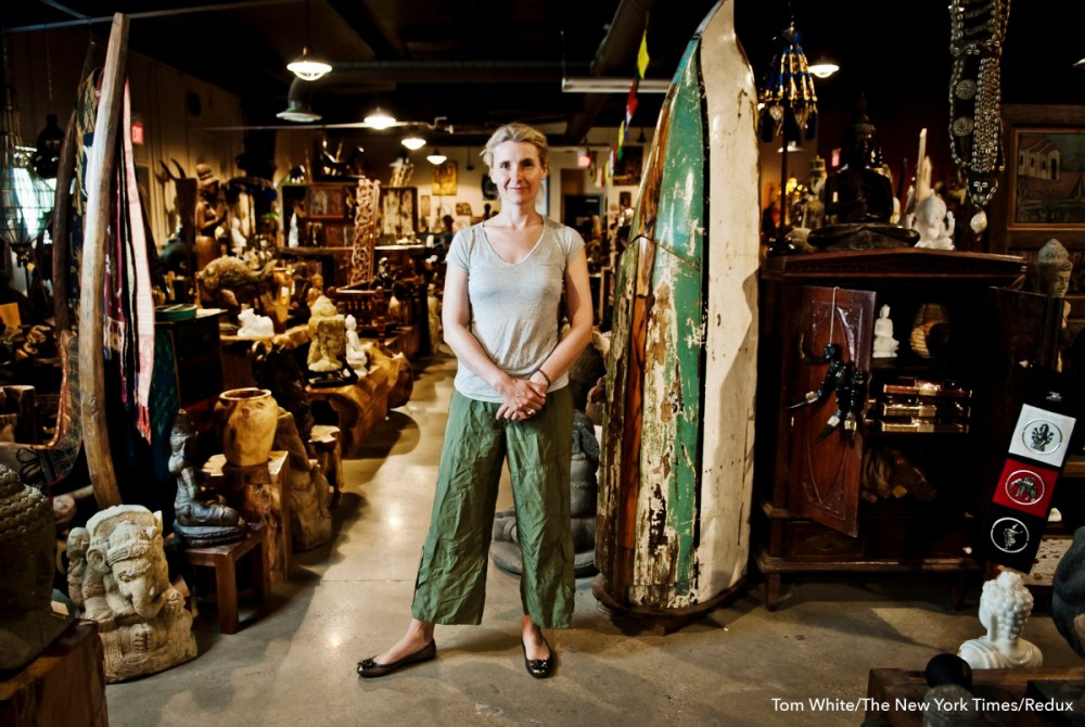 """Elizabeth Gilbert, author of """"Eat, Pray, Love,"""" at her store, Two Buttons, in Frenchtown, N.J."""